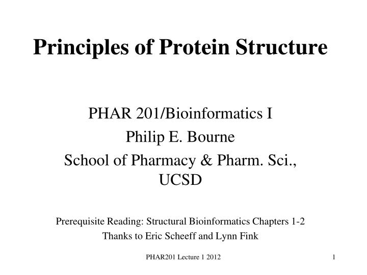 principles of protein structure n.