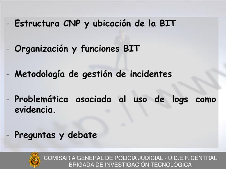 Estructura CNP y ubicación de la BIT