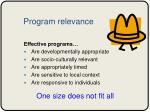 program relevance