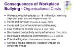 consequences of workplace bullying organisational costs