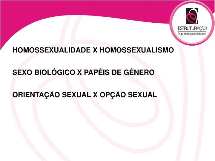 HOMOSSEXUALIDADE X HOMOSSEXUALISMO