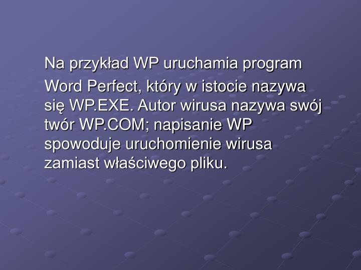 Na przykład WP uruchamia program