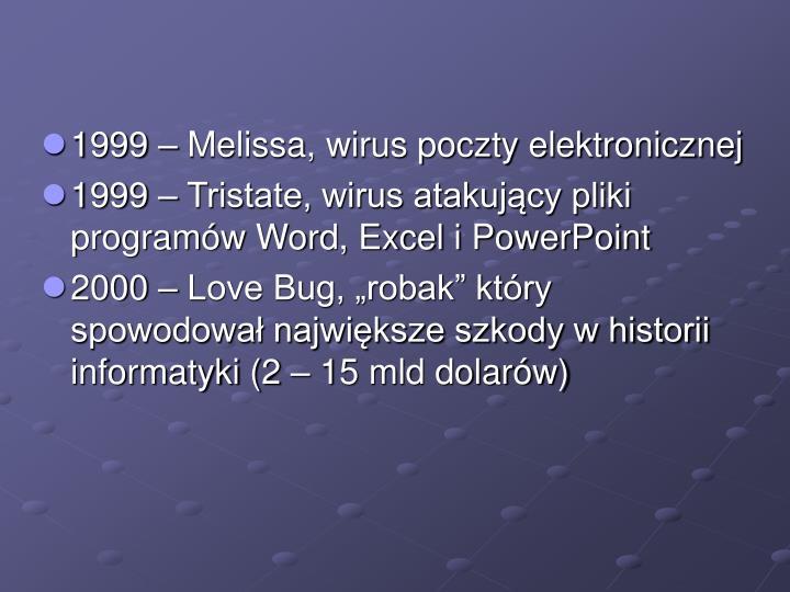 1999 – Melissa, wirus poczty elektronicznej