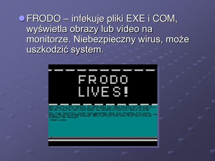 FRODO – infekuje pliki EXE i COM, wyświetla obrazy lub video na monitorze. Niebezpieczny wirus, może uszkodzić system.