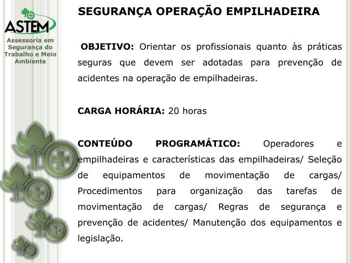 SEGURANÇA OPERAÇÃO EMPILHADEIRA
