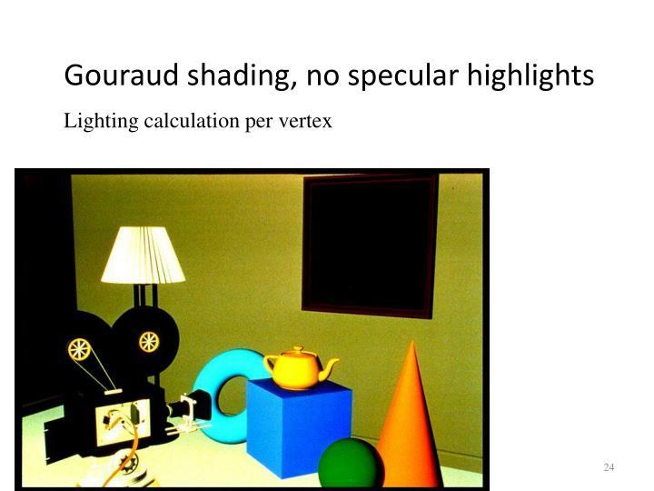 Gouraud shading, no specular highlights