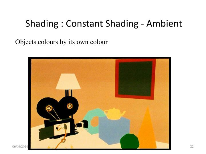 Shading : Constant Shading - Ambient