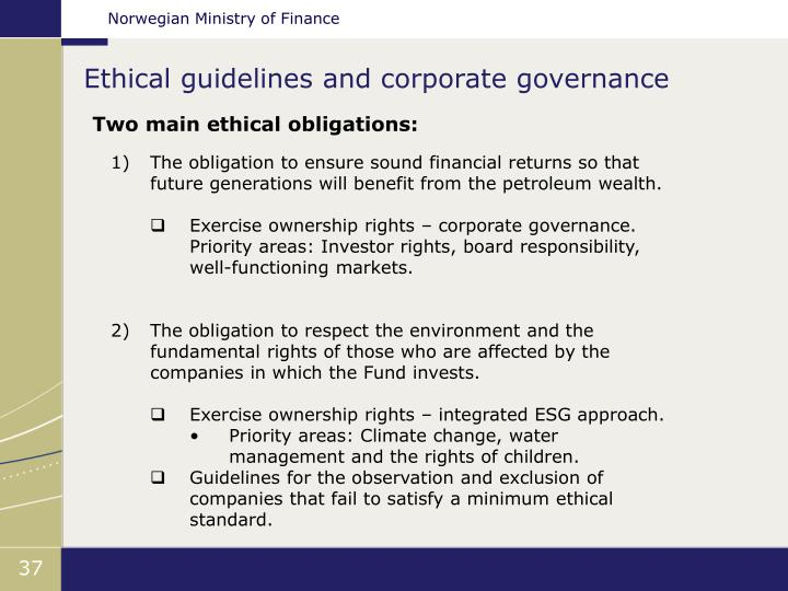 Ethical guidelines and corporate governance