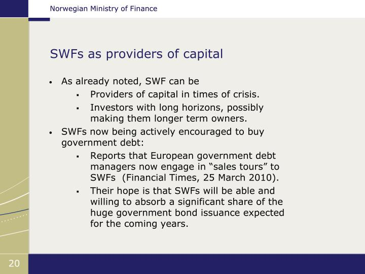 SWFs as providers of capital