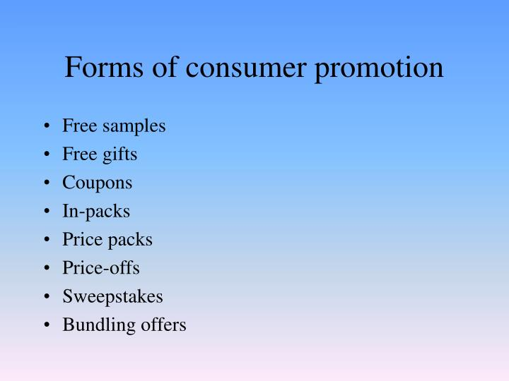 Forms of consumer promotion