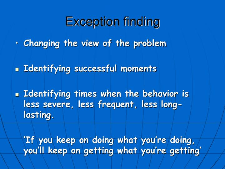Exception finding
