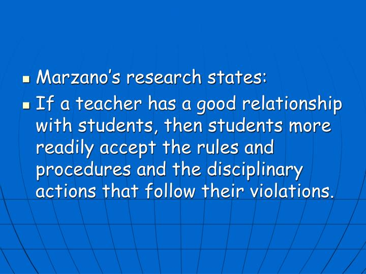 Marzano's research states: