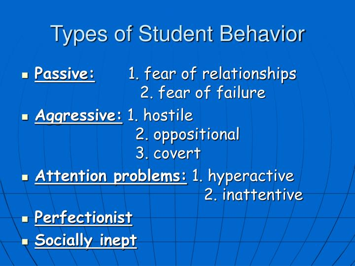 Types of Student Behavior