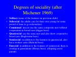degrees of sociality after michener 1969