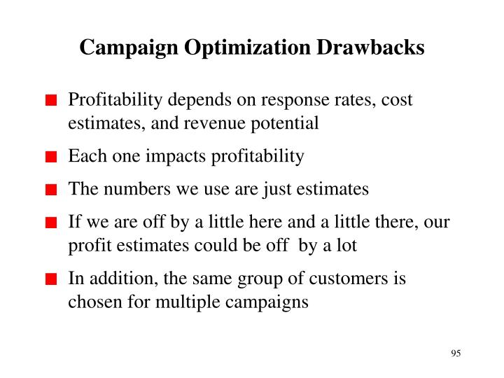 Campaign Optimization Drawbacks