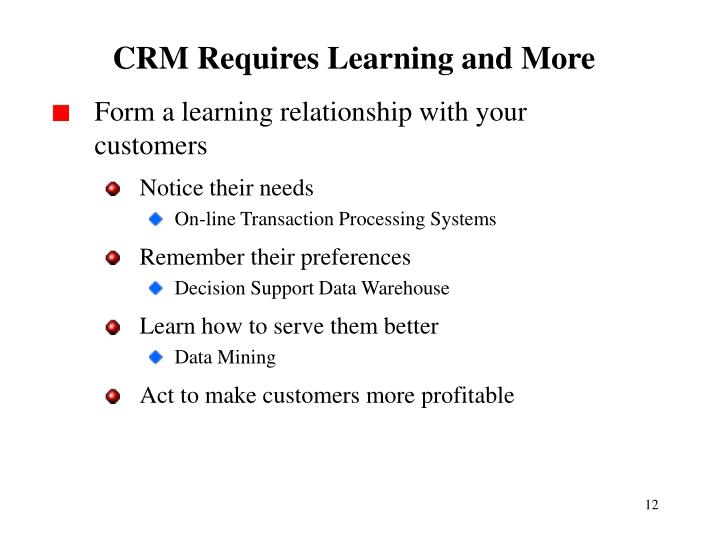 CRM Requires Learning and More