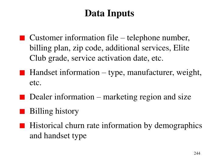 Data Inputs