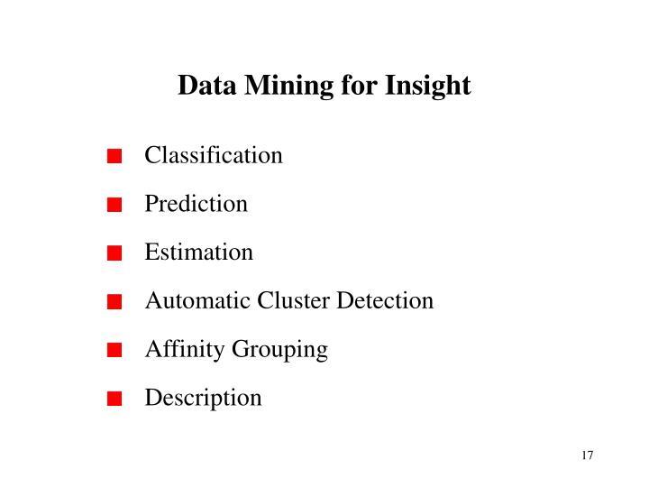 Data Mining for Insight
