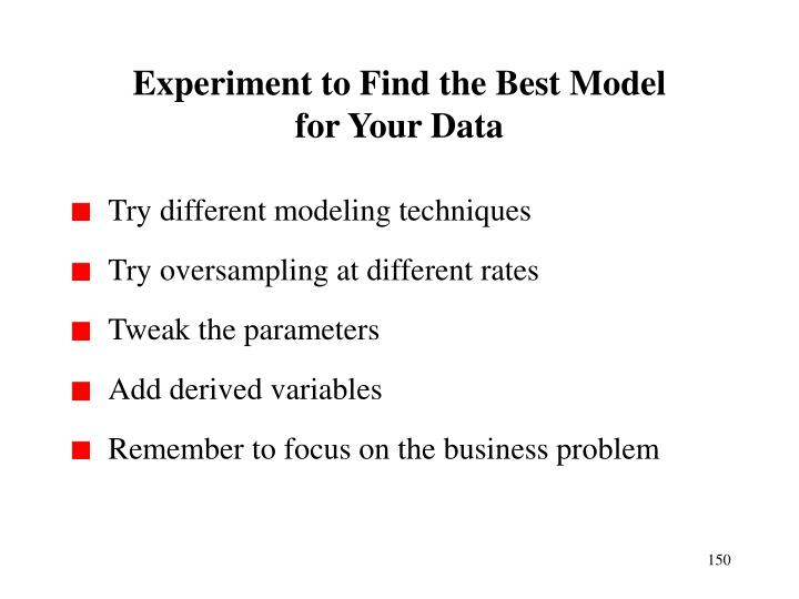 Experiment to Find the Best Model