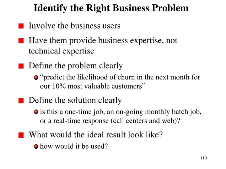 Identify the Right Business Problem