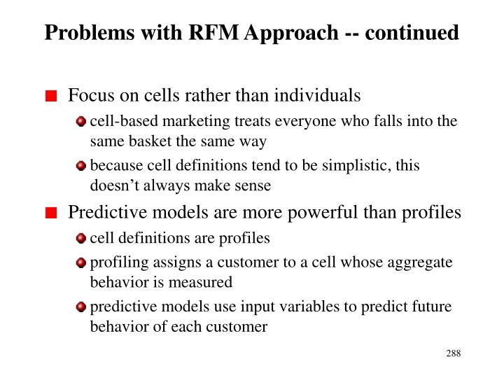 Problems with RFM Approach -- continued