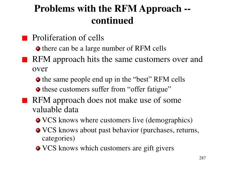 Problems with the RFM Approach -- continued