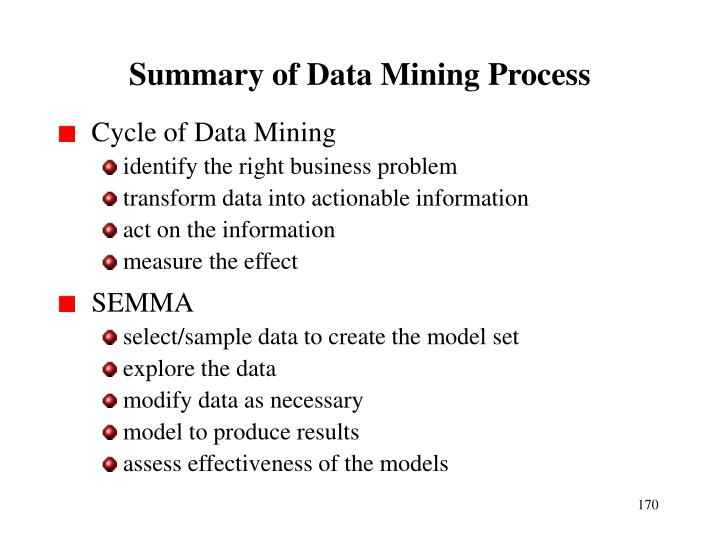 Summary of Data Mining Process