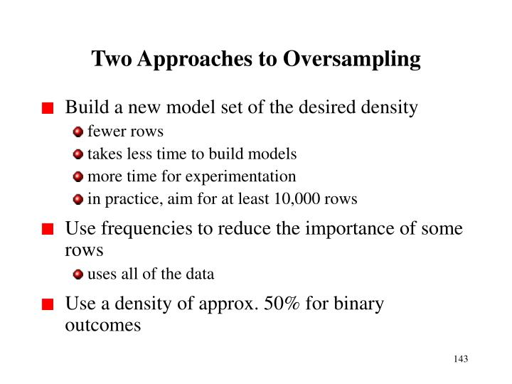 Two Approaches to Oversampling