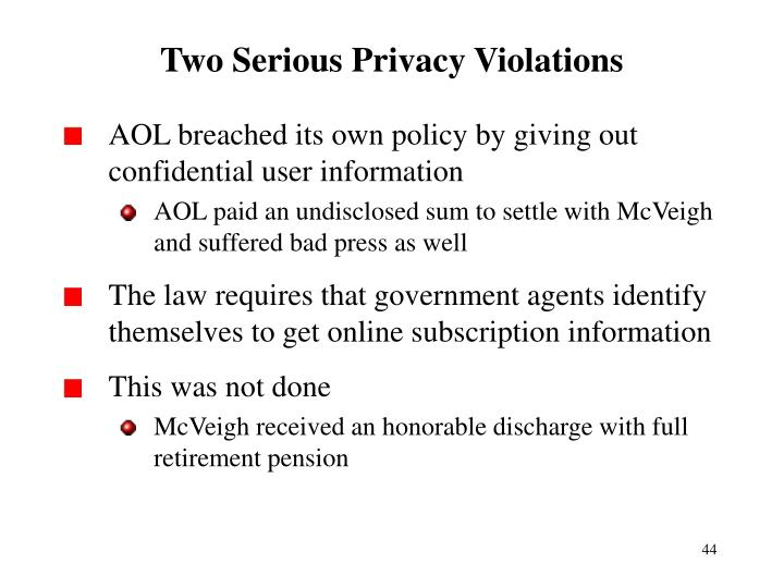 Two Serious Privacy Violations