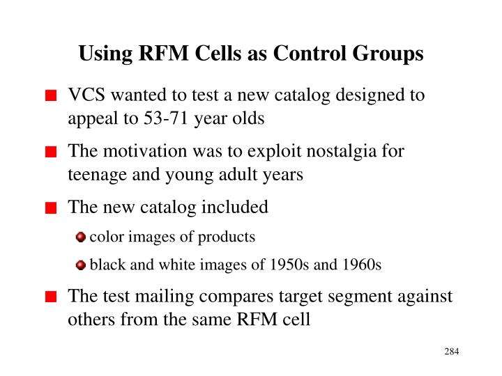 Using RFM Cells as Control Groups