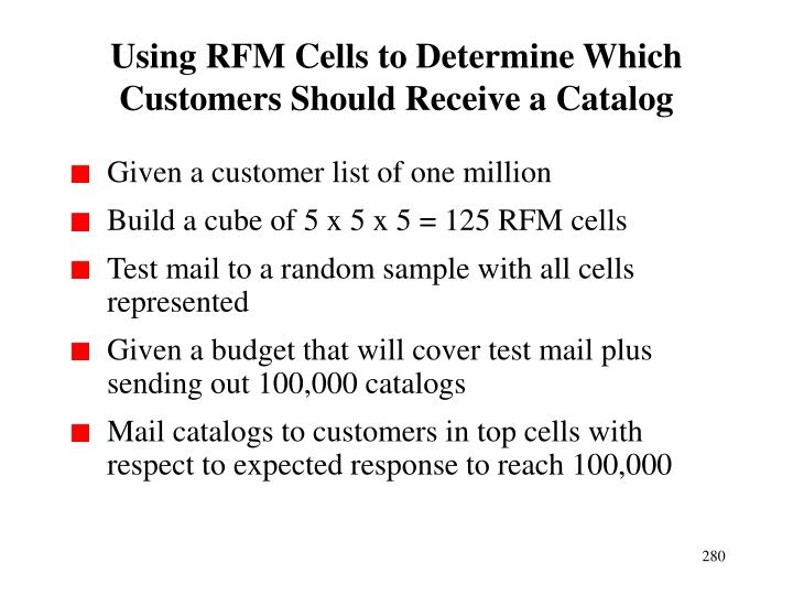 Using RFM Cells to Determine Which Customers Should Receive a Catalog