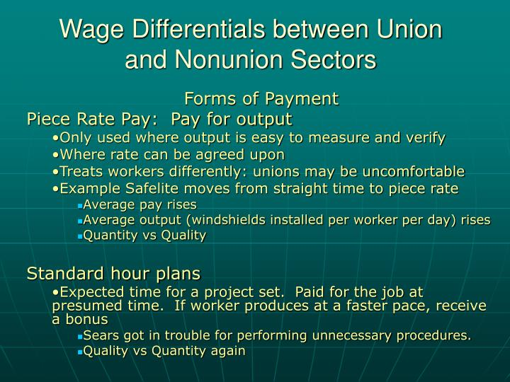 Wage differentials between union and nonunion sectors2