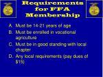requirements for ffa membership