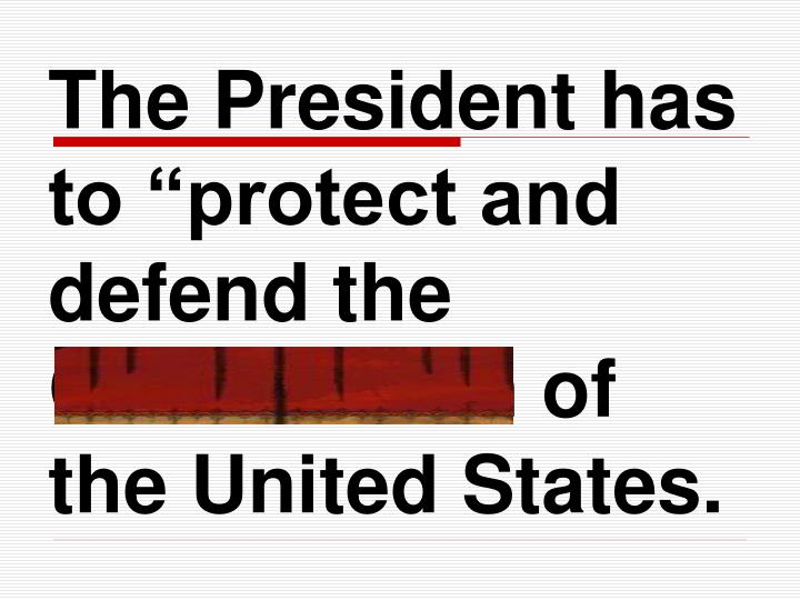 "The President has to ""protect and defend the Constitution of the United States."