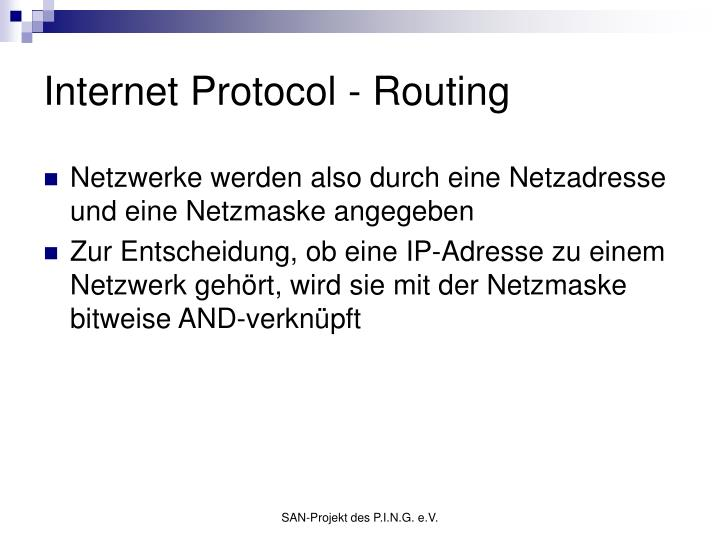 Internet Protocol - Routing