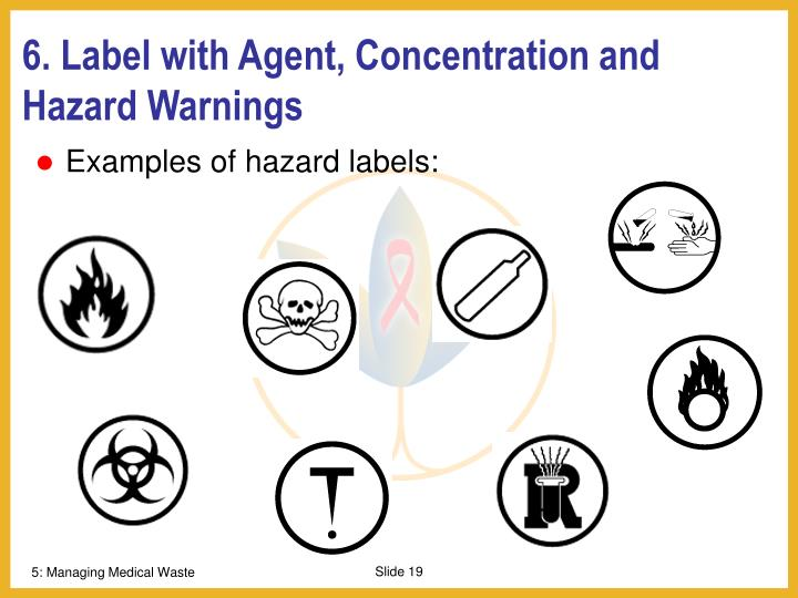 6. Label with Agent, Concentration and