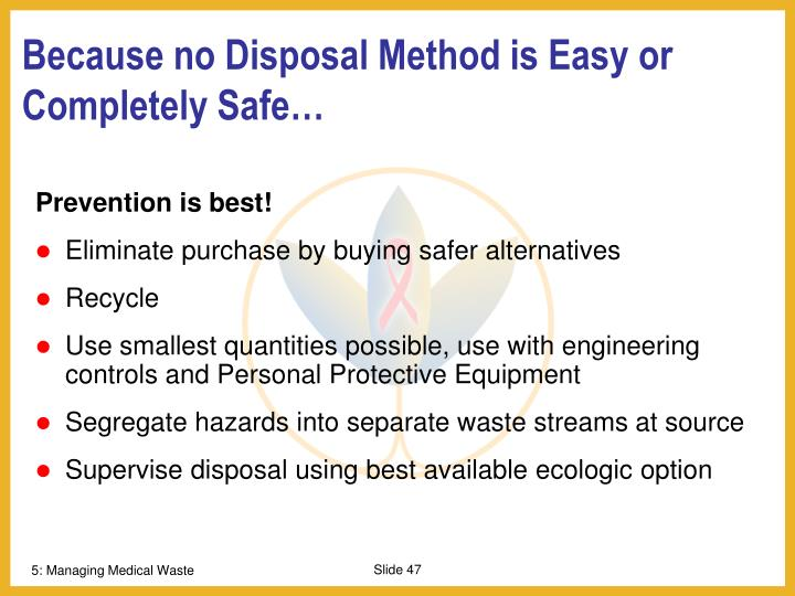Because no Disposal Method is Easy or Completely Safe…