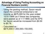 advantage of using pooling accounting on financial numbers contd11