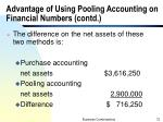 advantage of using pooling accounting on financial numbers contd2