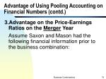 advantage of using pooling accounting on financial numbers contd9