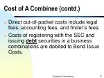 cost of a combinee contd