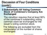 discussion of four conditions contd