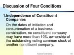 discussion of four conditions