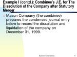 example i contd combinee s j e for the dissolution of the company after statutory merger
