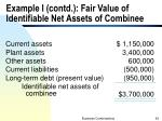 example i contd fair value of identifiable net assets of combinee