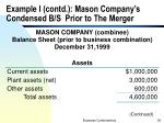 example i contd mason company s condensed b s prior to the merger