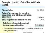 example i contd out of pocket costs contd
