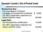 example i contd out of pocket costs