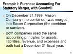example i purchase accounting for statutory merger with goodwill