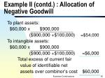 example ii contd allocation of negative goodwill